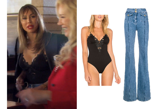 Kelly Dodd, Real Housewives of Orange County, RHOC, Kelly Dodd's outfit, Kelly Dodd's clothes, Tamra Judge, Bravotv, Bravo Nation, Kelly Dodd's black top, Season 14, Kelly's black lace bodysuit, Kelly's jeans, Fleur Du Mal Lily Lace Bodysuit, Balmain high waist flare jeans