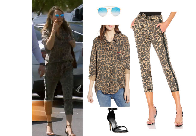 Kelly Dodd, Real Housewives of Orange County, RHOC, Kelly Dodd's outfit, Kelly Dodd's clothes, Tamra Judge, Bravotv, Bravo Nation, Season 14, Kelly's Leopard Shirt and Pants, Pam and Gela Leopard Pants, Pam and Gela Side Stripe Pants, Ray-Ban Round Double Bridge Blue Sunglasses, Stuart Weitzman Nunaked mid heel sandals