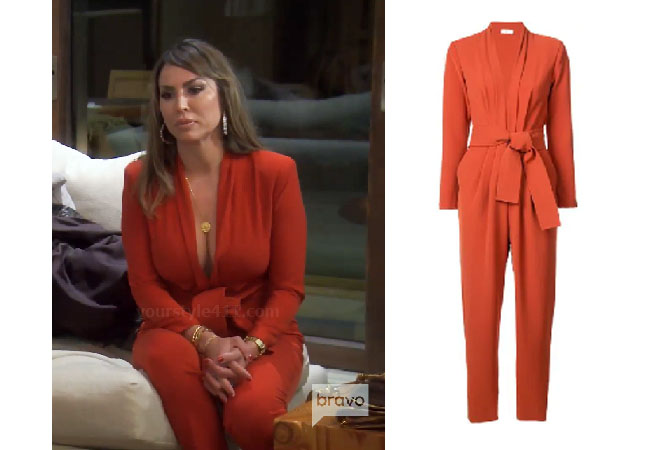 Kelly Dodd, Real Housewives of Orange County, RHOC, Kelly Dodd's outfit, Kelly Dodd's clothes, Tamra Judge, Bravotv, Bravo Nation, Season 14, Kelly Dodd's red jumpsuit, ALC Kieran Belted Crop Jumpsuit