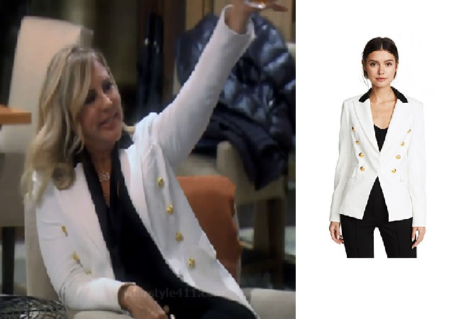 Real Housewives of Orange County, RHOC, Vicki Gunvalson, Season 14, RHOC, Real Housewives, Star Style, Vicki's White Blazer Gold Buttons, Veronica Beard Jack Peak-Lapel One Button Blazer