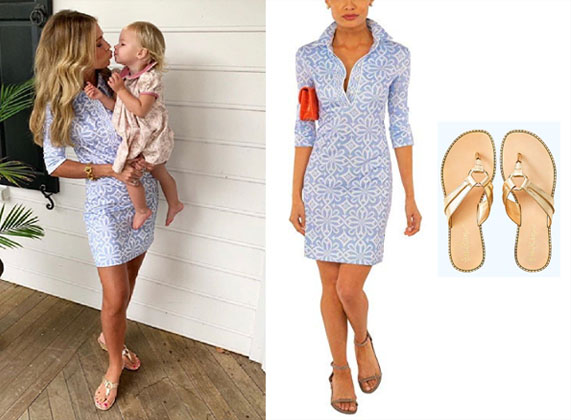 Southern Charm, Bravo TV, Cameran Eubanks, Star Style, fortnite, Game of Thrones, Cameran Eubanks' light blue graphic dress on Instagram, Cameran Eubanks with daughter on Instagram, Gretchen SCott Everywhere Dress, Lilly Pulitzer Mckim Flip Flop Sandals