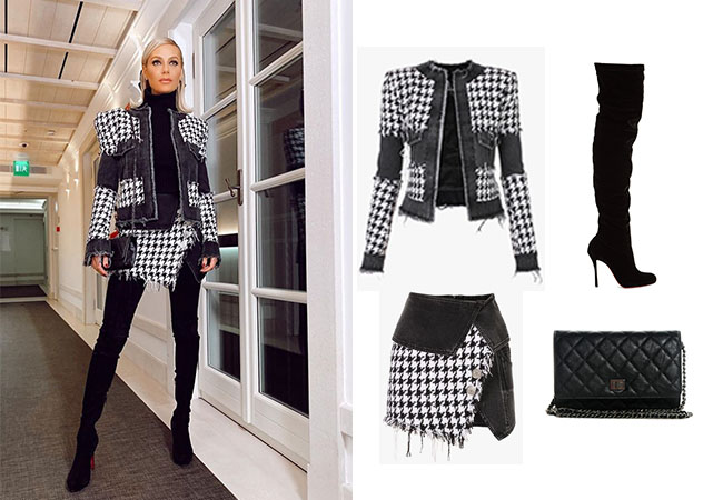 Dorit Kemsley, Real Housewives of Beverly Hills, RHOBH, Balmain houndstooth tweed jacket, Balmain houndstooth tweed skirt, Christian Louboutin over the knee Boots, Chanel WOC Wallet on a Chain