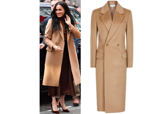 Meghan Markle, Meghan and Harry, Royal Outfits, Meghan Markle Outfits, Meghan's Mirror, Canada House, Queen Elizabeth, William and Kate, Prince George, Prince Archie, Reiss Sable Coat, Massimo Dutti Turtleneck, Massimo Dutti Skirt, Meghan Markle Vacation