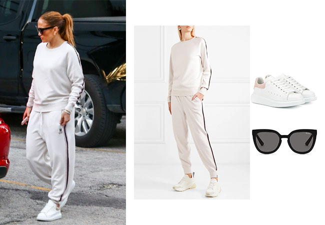 Jennifer Lopez, Alex Rodriguez, ARod, JLo, Quay Noosa Sunglasses, Alexander McQueen Leather Sneakers, Olivia Von Halle Missy Moscow track sweatshirt and pants