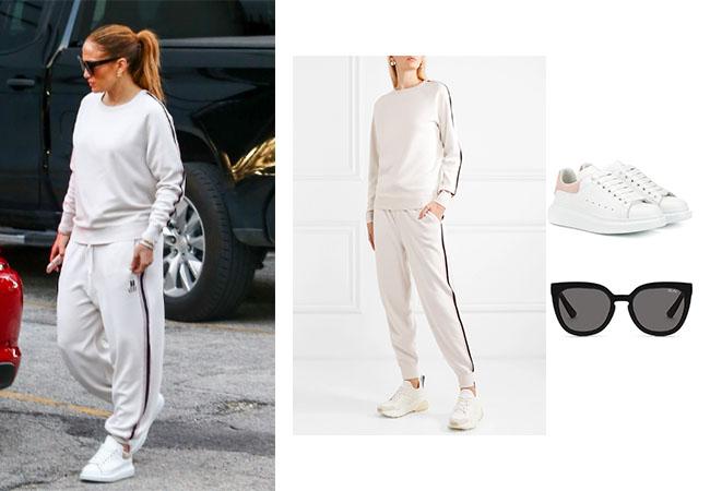 Jennifer Lopez, Alex Rodriguez, ARod, JLo, Quay Noosa Sunglasses, Alexander McQueen Leather Sneakers, Olivia Von Halle Missy Moscow track sweatshirt and pants