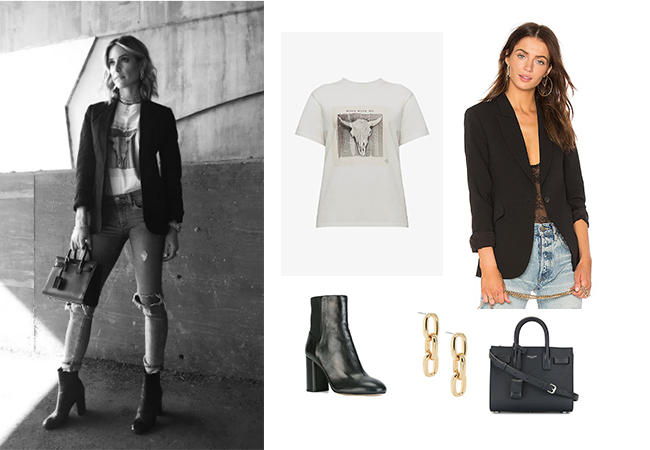 Kristin Cavallari, Very Cavallari, Jay Cutler, Uncommon James Chain Earrings, Rag and Bone Agnes Boots, Saint Laurent Nano Sac De Jour, Anine Bing Walk With Me Tee,