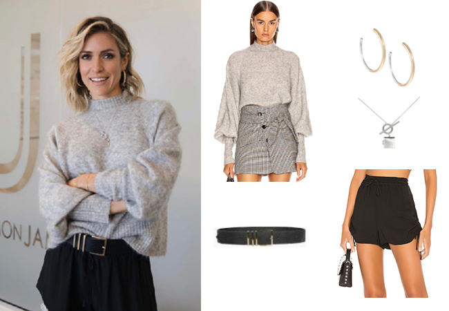 Kristin Cavallari, Very Cavallari, Jay Cutler, Uncommon James Mixed Media Hoop Earrings, Uncommon James Isla Locket, Lovers + Friends Charade Shorts, Marissa Webb Piper Sweater, Anine Bing Belt