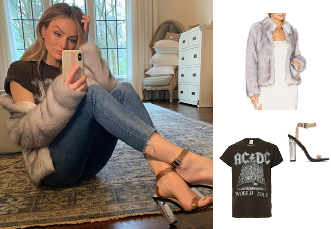 Lauren Bushnell, The Bachelor, Delish faux fur jacket, Justfab Hanna Sandals, ACDC t-shirt, Bachelor Nation, #instablogger, #instastyle, Bachelor In Paradise, The Bachelorette