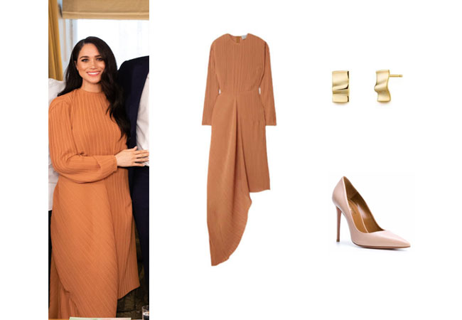 Meghan Markle, Harry, Duchess of Sussex, HRH, Duke of Sussex, Royalty, Royals, Queen's Commonwealth Trust, Preen Brenda Dress, Edge of Ember Wave Earrings, Aquzaurra Pumps