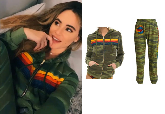 Amanda Stanton, The Bachelor, Amanda Stanton on TikTok, Amanda Stanton on Instagram, Aviator Nation Camo Hoodie, Aviator Nation Camo Jogging Pants