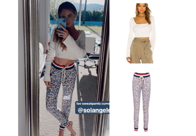 Amanda Stanton, The Bachelor, Bachelor In Paradise, Sol Angeles Leopard Jogging Pants, LPA Tony Sweater, Amanda Stanton's outfit on instagram story