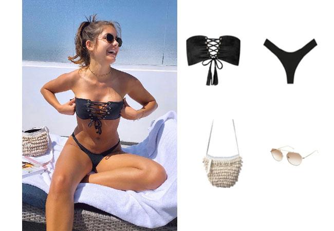 Hannah Sluss, The Bachelor, Montxe Swim Top, Cleobello Paradise Bag, Illesteva Nicosia Sunglasses, Hannah Sluss on Instagram, Hannah Sluss on TikTok