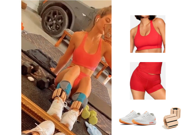 JoJo Fletcher, The Bachelor, The Bachelorette, Cash Pad, JoJo Fletcher on instagram, Outdoor Voices Tech Sweat Shorts, Outdoor Voices Doing Things Bra, Under Armour Hovr Sonic Sneaker, Bala Bangles Weights