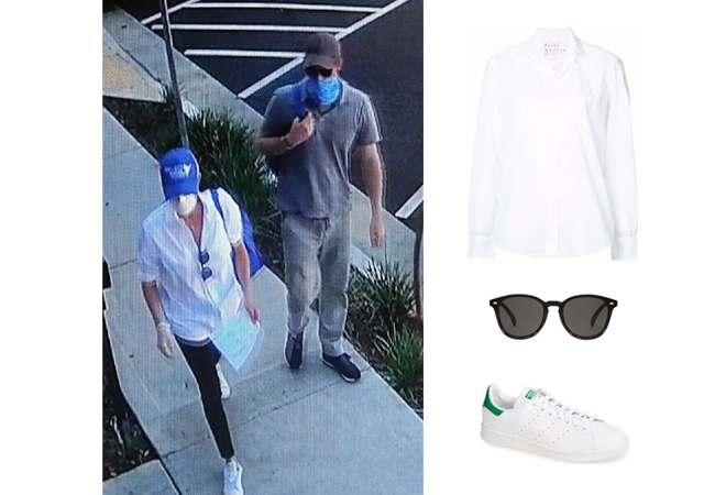 Meghan Markle, Duchess of Sussex, Harry and Meghan, Archie, Frank and Eileen Shirt, Adidas Stan Smith Sneakers, Le Spec Bandwagon Sunglasses