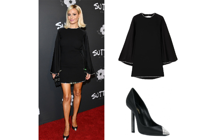 Dorit Kemsley, Real Housewives of Beverly Hills, RHOBH, Sonia Rykel Crystal Mini Dress, Saint Laurent Embellished Toe Pumps