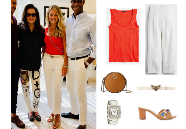 Cameran Eubanks, Southern Charm, j.Crew Ruffle Tank, J.Crew High Waisted Linen Pants, Gucci Queen Belt, Casadei Sandal, Cartier Tank Watch, Gucci GG Marmont Bag