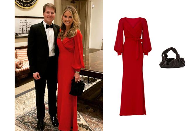 Cameran Eubanks, Southern Charm, Bagdley Mischka V-Neck Dress, The Row Ascot Satin clutch, Cameran's Red Dress on Instagram
