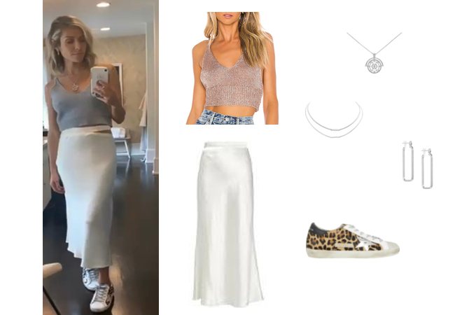 Kristin Cavallari, Very Cavallari, Jay Cutler, Kristin Cavallari and Jay Cutler Divorce, Uncommon James, Superdown Leisha Knit top, Gauge18 Livarno Skirt, Uncommon James Tennessee Necklace, Uncommon James Resort Earrings, Uncommon James La Paz Necklace, Golden Goose Sneakers