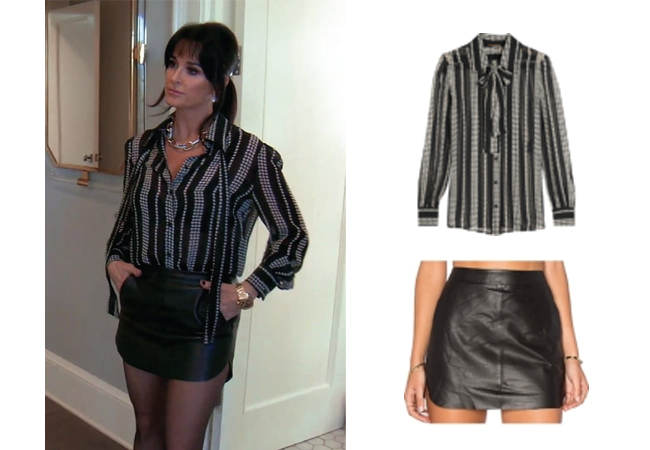 Kyle Richards, Real Housewives of Beverly Hills, RHOBH, Kyle's Black and White Striped Blouse and Black Mini Skirt, Saint Laurent Stars and Stripes Blouse, Karina Grimaldi Jacob Skirt, @kylerichards18