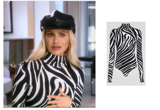 Dorit Kemsley, Real Housewives of Beverly Hills, RHOBH, Versace Black & White Zebra Bodysuit, Dorit's Zebra Shirt in Confessional