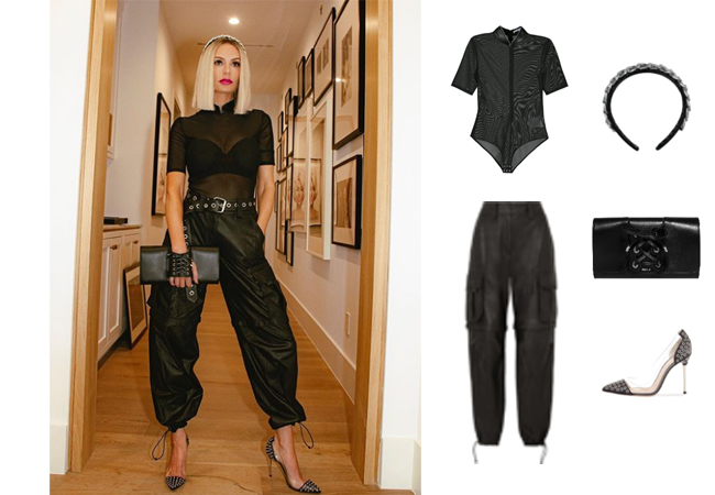 Dorit Kemsley, Real Housewives of Beverly Hills, RHOBH, Alexander Wang Popup Collar Bodysuit, Alexander Wang Leather Cargo Pants, Gianvito Rossi Jett Grommet Pumps, Kitsch x Justine Marjan Link Headband, Perrin Paris Le Corset Clutch