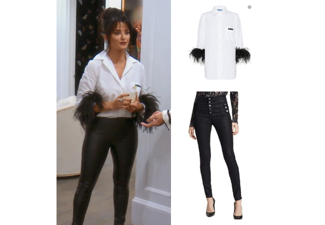 Kyle Richards, Real Housewives of Beverly Hills, RHOBH, Prada Feather Trimmed Shirt, J. Brand Button Fly Natasha Jeans, Kyle Richards' outfit at her dinner party