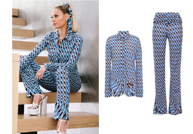 Dorit Kemsley, Real Housewives of Beverly Hills, RHOBH, Prada Print Jersey Shirt, Prada Print Jersey Pants, Dorit's Blue Print Shirt, Dorit's Blue Print Pants