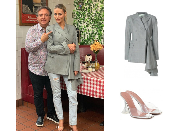 Dorit Kemsley, Real Housewives of Beverly Hills, RHOBH, Off-White Asymmetric Blazer, Amina Muaddi Lupita PVC Mule Sandals, Dorit's Grey Blazer at Restaurant