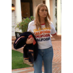 Denise Richards; Real Housewives of Beverly Hills; RHOBH; Denise Richards' Jeans' Denise Richards' California Tee Shirt; CQY Wes High-Rise Jeans; Aviator Nation White Crew Neck Tee