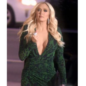 Erika Girardi; Erika Jayne; RHOBH; Real Housewives of Beverly Hills, Erika's Green Animal Print Dress; Erika's Green Dress At The LA Mission