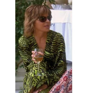 Lisa Rinna; Real Housewives of Beverly Hills; RHOBH; Ganni Tiger Stripe Dress; Lisa Rinna's green dress at LA Mission