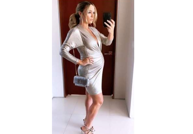 Teddi Mellencamp; Real Housewives of Beverly Hills; RHOBH; IRO Cilty Dress; YSL Sunset Silver Wallet on Chain; Jennifer Behr Seraphina Earrings; Tabitha Simmons Iceley Sandals