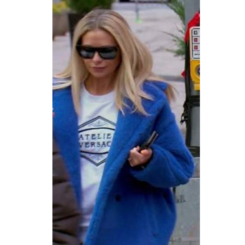 Dorit Kemsley; Real Housewives of Beverly Hills; RHOBH; Max Mara Alpaca and Wool Teddy Coat; Atelier Versace Sweatshirt; Dorit's Blue Coat