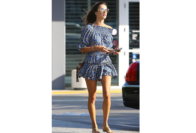 Alessandra Ambrosio; Alessandra Ambrosio's blue dress; MISA Los Angeles Darla Dress; Lorraine Schwartz Evil Eye Bracelet